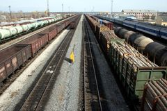 Russian freight trains. A bunch of freight trains on a Russian railway station Stock Images