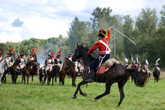Russian and French armies in 1812. MOSCOW REGION, RUSSIA - SEPTEMBER 05: Reenactment of the Borodino battle between Russian and French armies in 1812. soldiers Royalty Free Stock Photography