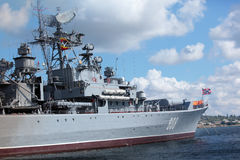 Russian frigate Royalty Free Stock Photography