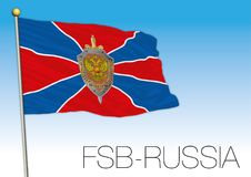 Russian FSB service flag and symbol, Russia. Russia FSB flag and coat of arms, vector illustration, secret service of Russia Royalty Free Stock Photo