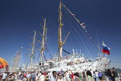 Mir at Tall Ship Festival Lisbon, Portugal, 2012 royalty free stock photography