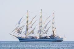 Russian fullrigger Mir sailing. Mir, a Russian three-masted full-rigged ship at full sail in Southern Baltic sea. The Tall Ships' Races 2013 Stock Photo