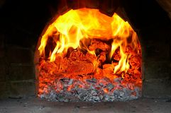Russian furnace. Flame of fire in the furnace stock photography