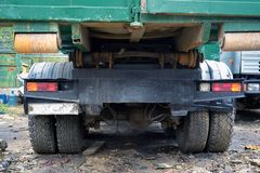 Russian garbage truck kamaz on a dump Royalty Free Stock Images
