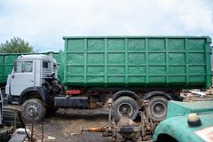 Russian garbage truck kamaz on a dump Stock Photography