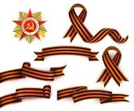 Russian Georgian ribbons, Order of Patriotic War. Set of realistic Saint George ribbons and Order of Patriotic War, symbols of Russian Victory day, vector Stock Photo