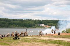 Russian and german soldiers in attack Royalty Free Stock Photography