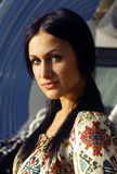 Russian Girl. Beauty russian girl in Moscow sunset Royalty Free Stock Photography