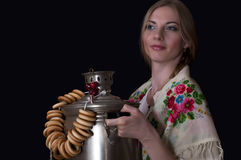 Russian girl. With the samovar Royalty Free Stock Photo