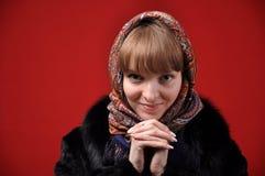 Russian Girl. Russian beautiful girl in fur coat Stock Photography