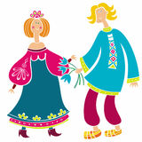 Russian girl and boy Royalty Free Stock Photos