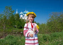 Russian  girl on church Stock Image