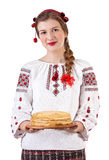 Russian girl with crepes Royalty Free Stock Photo