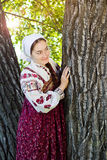 Russian girl in ethnic costume Stock Photo