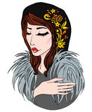 Russian girl in fur and scarf. Vector illustration Royalty Free Stock Image