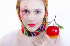 Russian girl in a headscarf Stock Photo
