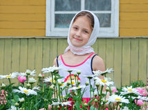 Russian girl in a headscarf Royalty Free Stock Photography