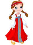 Russian Girl. Illustration of cute girl dressed in Russian national dress royalty free illustration