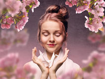 Russian girl in the Japanese style Royalty Free Stock Images
