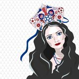 Russian girl in kokoshnik with soccer ball, vector illustration. White/ blue/ red Royalty Free Stock Photography