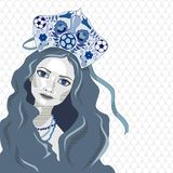 Russian girl in kokoshnik with soccer ball, vector illustration. White and blue Royalty Free Stock Photography