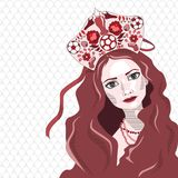Russian girl in kokoshnik with soccer ball, vector illustration. White and red Stock Photos