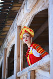 Russian girl in a kokoshnik. Russian girl in the village Stock Photos