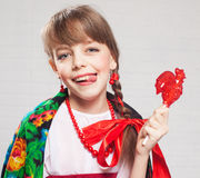 Russian girl in national dress Royalty Free Stock Photo