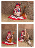 Russian girl in national dress, collection Royalty Free Stock Photography