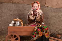 Russian girl in national dress Royalty Free Stock Photography
