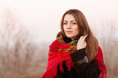 Russian girl in national headscarves Royalty Free Stock Photography