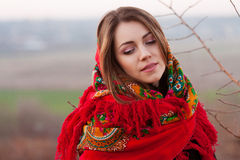 Russian girl in national headscarves Royalty Free Stock Image