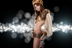 Russian girl in New Year concept. Royalty Free Stock Photography