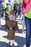 Russian girl at the parade on annual Victory Day Royalty Free Stock Photo