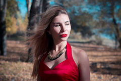 Russian girl posing in the autumn woods, a red dress, passion and eyes are crazy. Vampire, image, excitation, lingerie. Face and h Stock Image