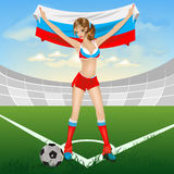 Russian girl soccer fan Stock Photos