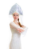 Russian girl in traditional costume. And kokoshnik. Isolated on white royalty free stock photo