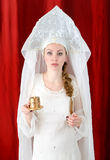 Russian girl in traditional costume. And kokoshnik royalty free stock photos