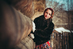 Russian girl in the village Royalty Free Stock Images