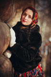 Russian girl in the village Royalty Free Stock Photo