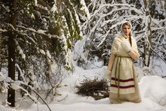 Russian girl in the winter woods Stock Images