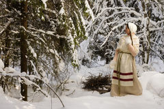 Russian girl in the winter woods Stock Image