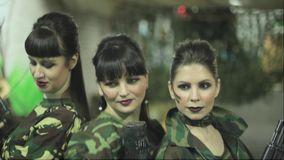 Russian girls in military uniform stock video footage