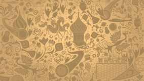 Russian gold wallpaper, vector illustration. Russian gold wallpaper, 16:9 aspect ratio, world of Russia pattern with modern and traditional elements, 2018 Stock Image
