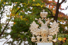 Russian golden double headed eagle. The russian national symbol, a double headed eagle royalty free stock photos