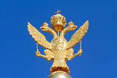 Russian golden double headed eagle Stock Photo