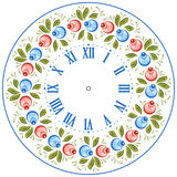 Russian Gorodets clock face. Clock face in the Russian style. Russian handicraft Gorodets painting. Vector illustration Royalty Free Stock Photos