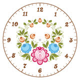 Russian Gorodets clockface Stock Photography