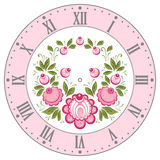 Russian Gorodets clockface. Clockface in the Russian style. Russian handicraft Gorodets painting. Vector illustration Stock Photography
