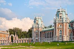 Russian gothic palace. Russian national architecture ensemble Tsaritsino, Moscow Stock Photos